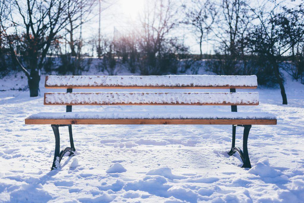 Winter bench - free stock photo