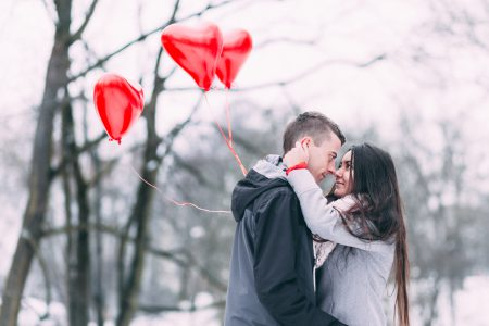 A couple with heart shape baloons 4 - free stock photo