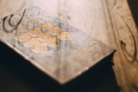 Hearts stamped on a book cover - free stock photo