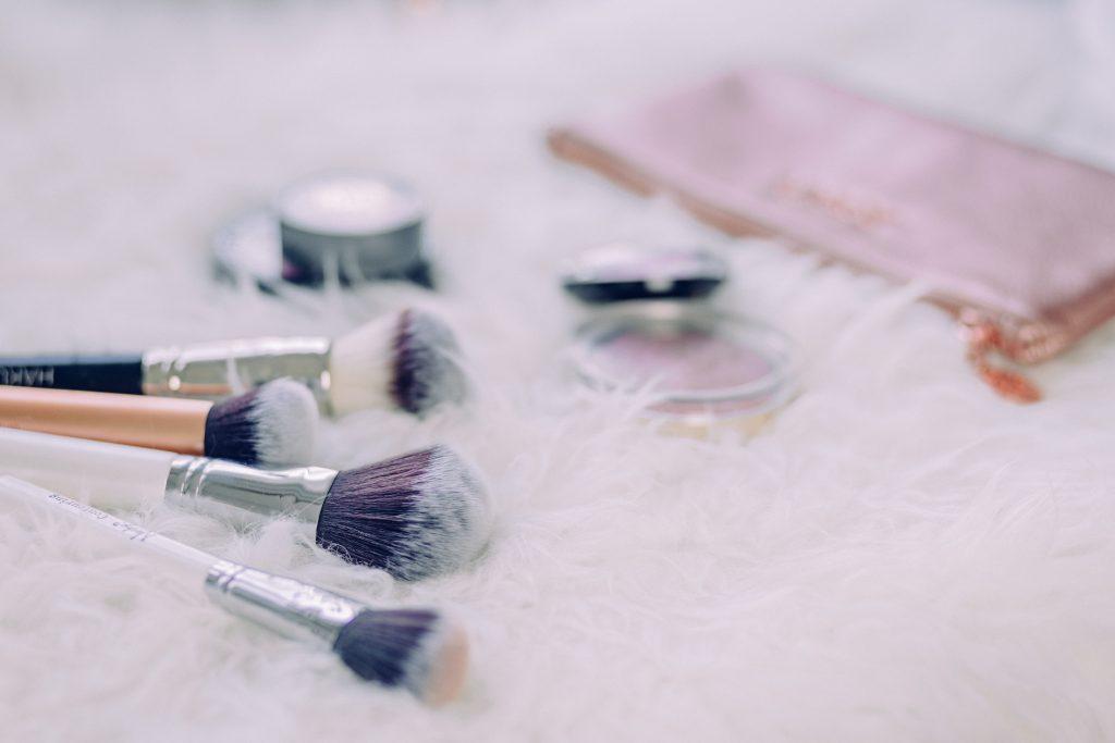 Makeup brushes and blush - free stock photo