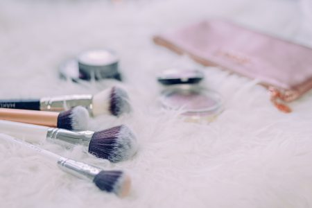 Makeup brushes and blush