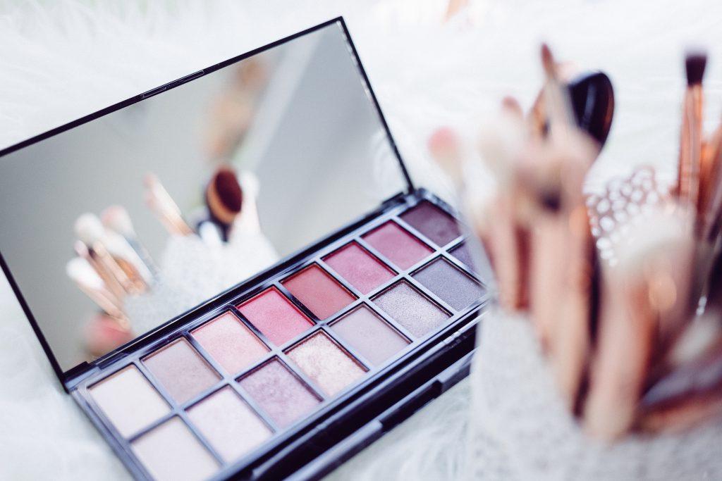 Makeup brushes and eyeshadows - free stock photo