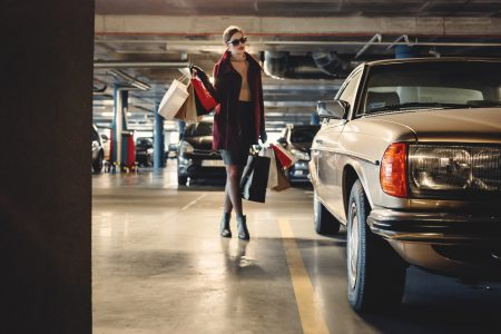 Shopping freak in the parking lot - free stock photo