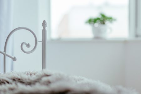 Vintage white bed detail - free stock photo