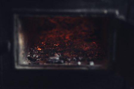 Ashes in an old stove