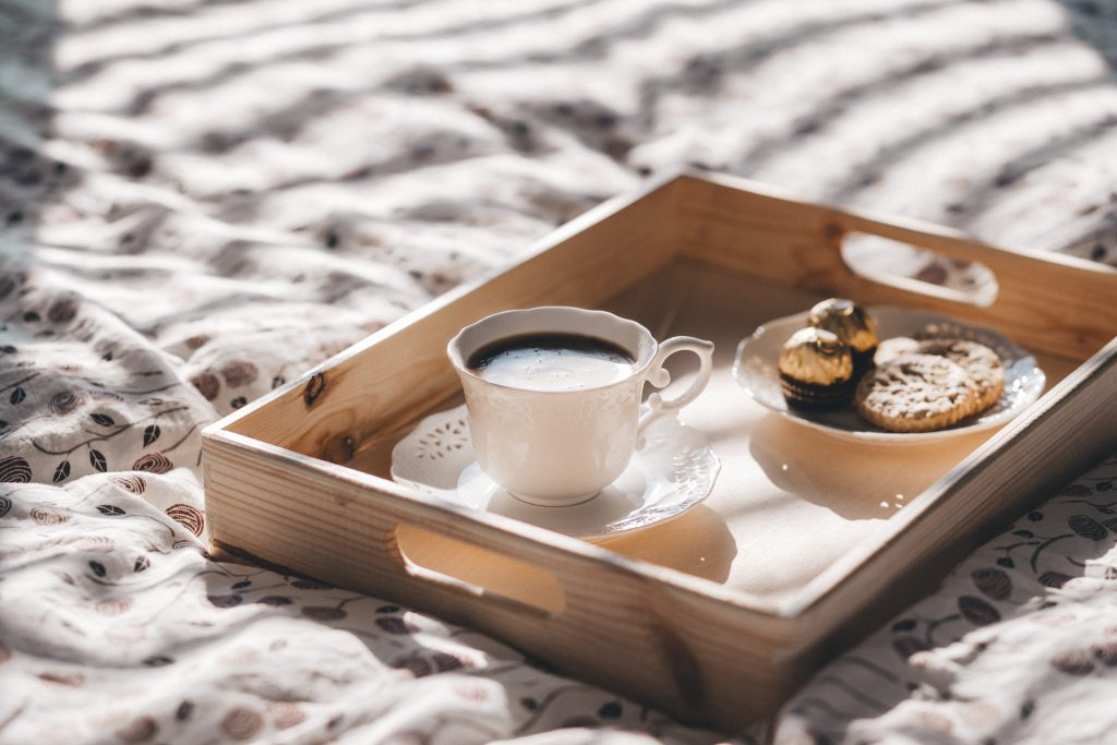 Coffee in bed - free stock photo