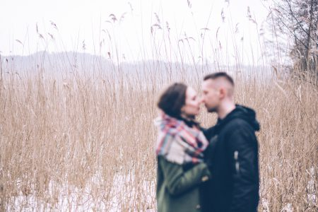 A couple about to kiss blurred - free stock photo