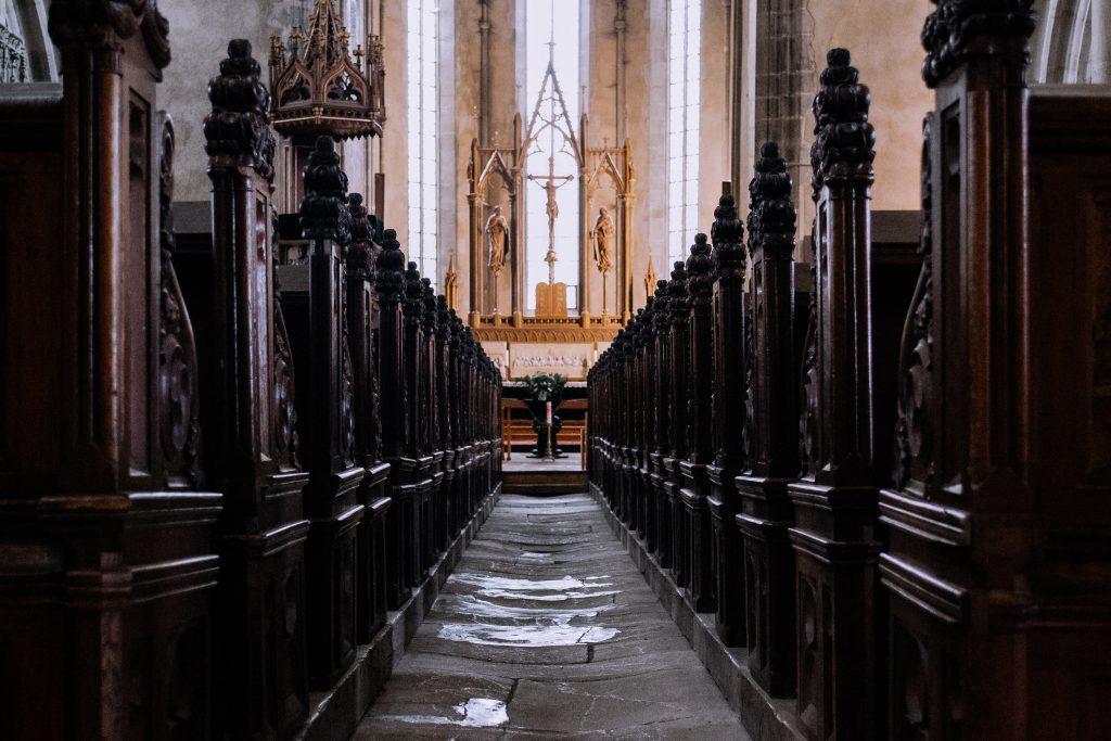 Gothic church aisle - free stock photo