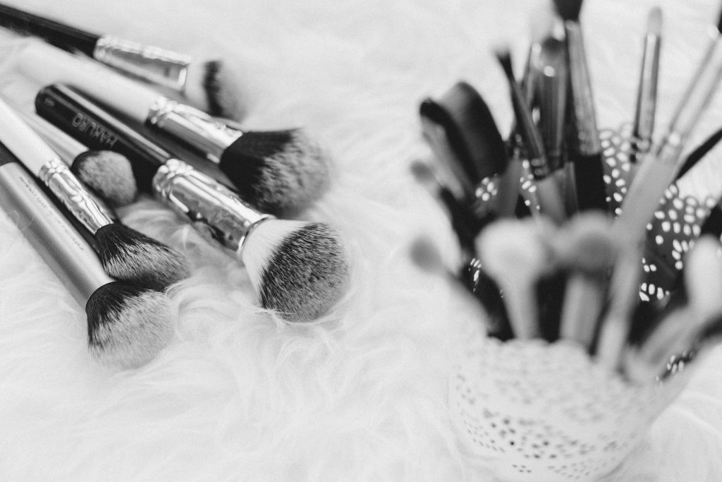 Makeup brushes in b&w - free stock photo