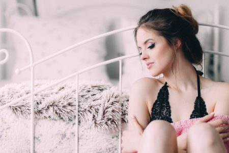 A woman in lace lingerie - free stock photo