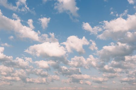 Midday white clouds in the sky - free stock photo