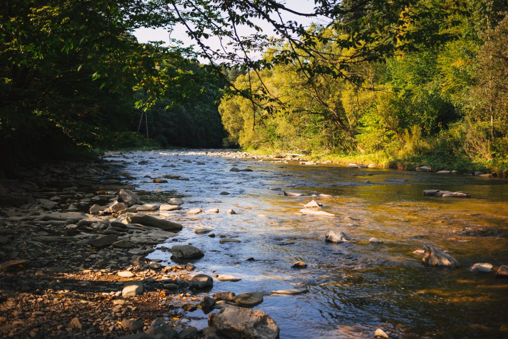 Rocky river at sunset - free stock photo
