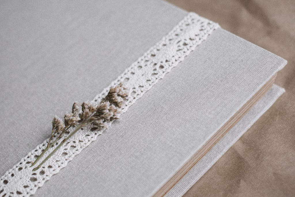 Rustic linen photo album - free stock photo