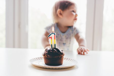 Baby birthday muffin - free stock photo