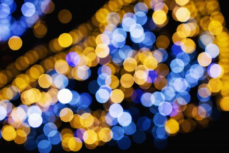 Blue and yellow bokeh