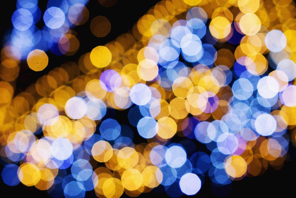 Blue and yellow bokeh 2 - free stock photo
