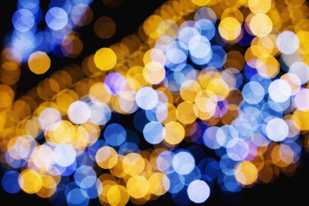 Blue and yellow bokeh 2 - free stock photo