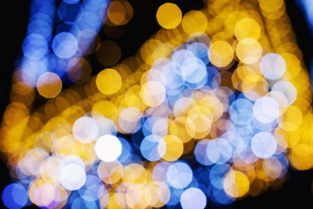 Blue and yellow bokeh 3 - free stock photo