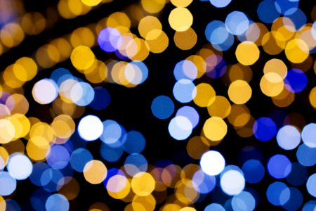 Blue and yellow bokeh 4 - free stock photo