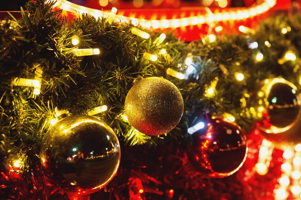 Christmas baubles outdoors - free stock photo