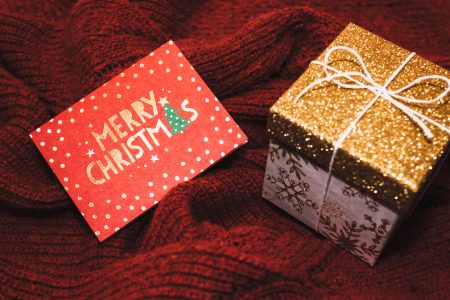 Christmas card and a gift box - free stock photo