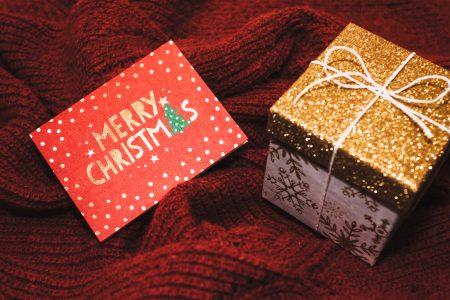 Christmas card and a gift box