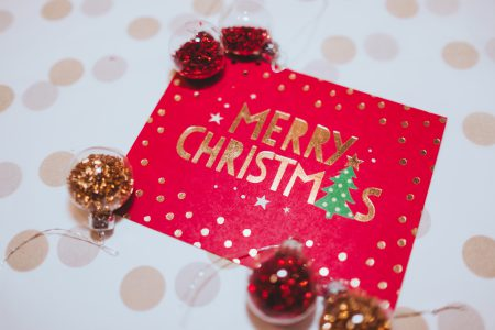 Christmas card and mini baubles - free stock photo