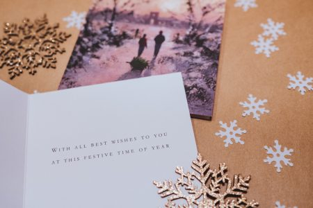 Christmas card and snowflakes - free stock photo