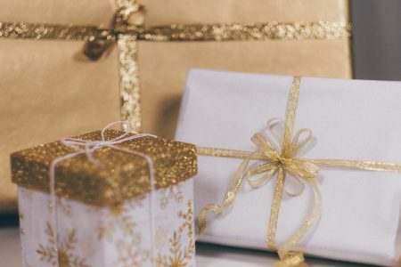 Christmas gifts in gold - free stock photo