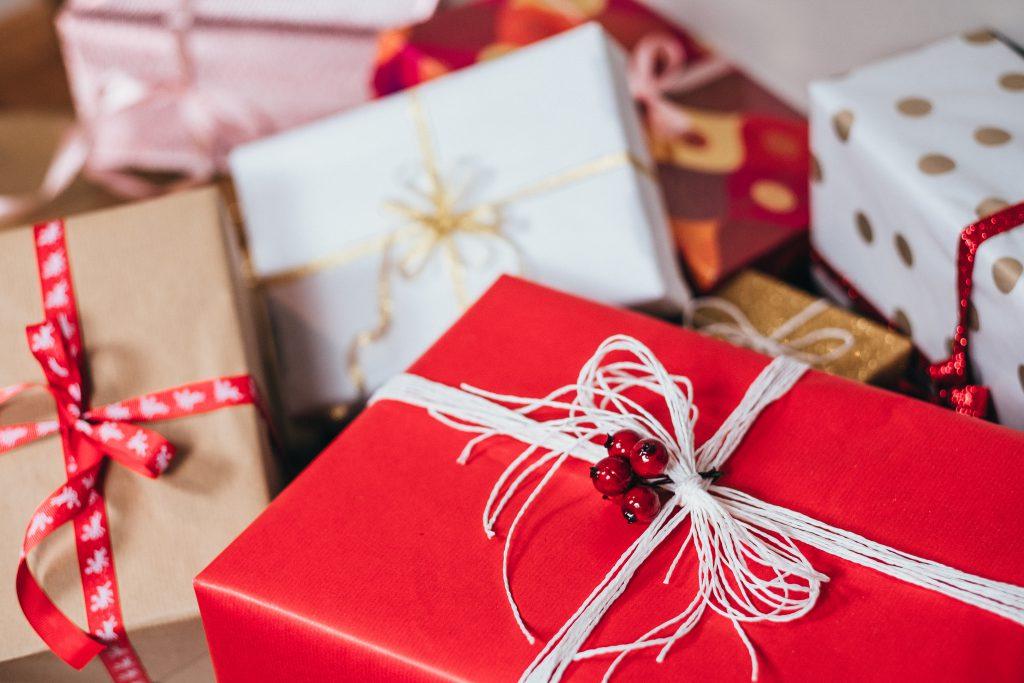 Christmas gifts pile - free stock photo