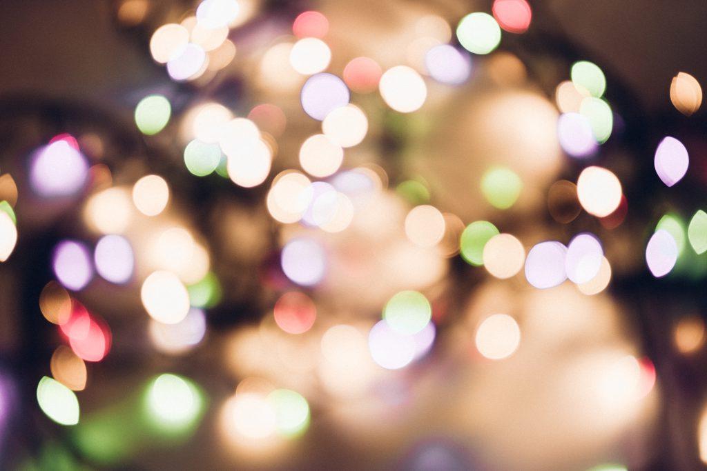 Christmas lights pastel bokeh - free stock photo