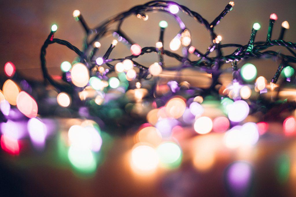 Christmas lights pastel bokeh 2 - free stock photo