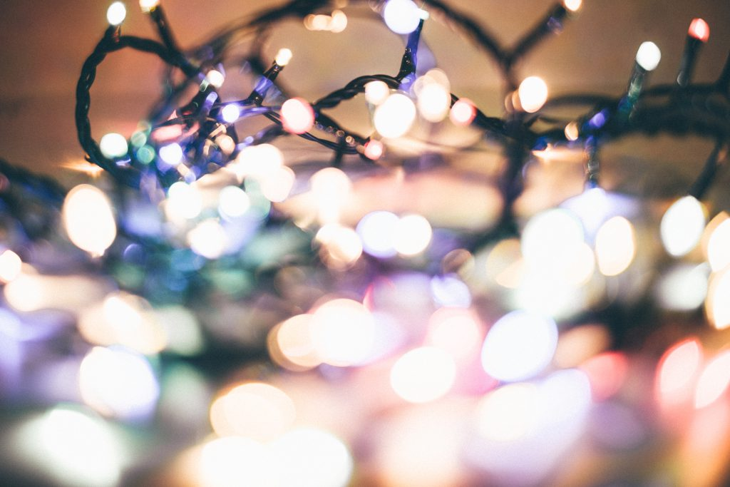 Christmas lights pastel bokeh 3 - free stock photo