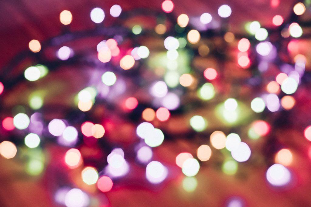 Christmas lights pastel bokeh 4 - free stock photo