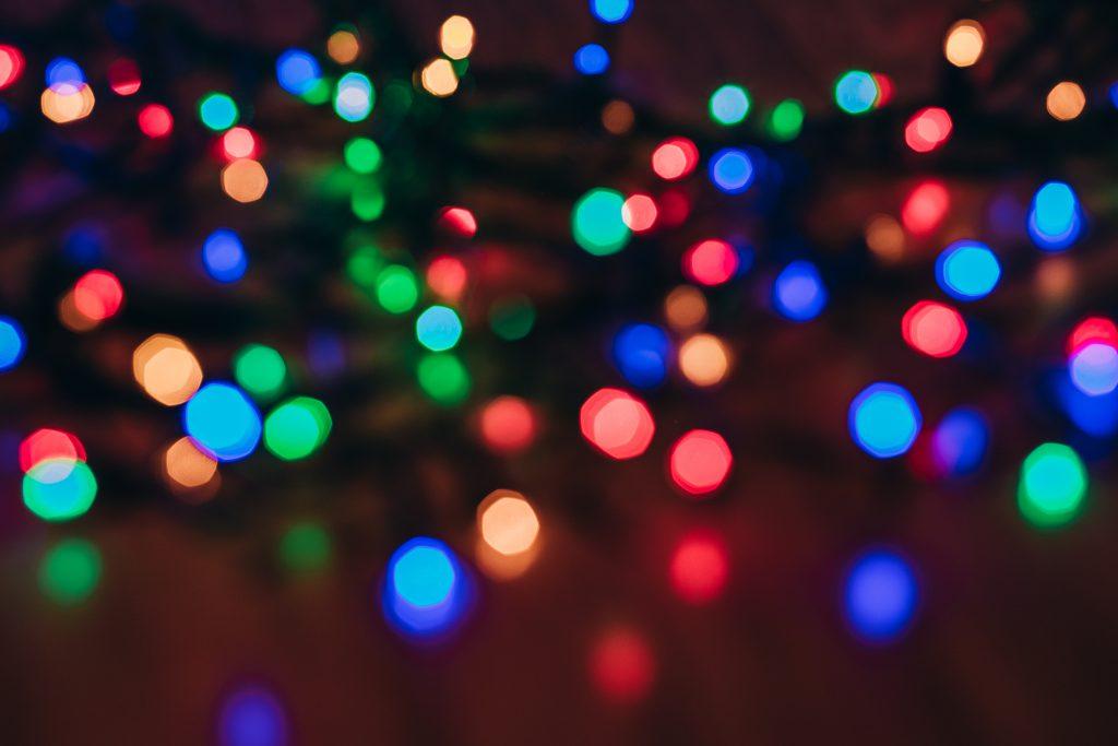Colorful Christmas lights bokeh - free stock photo
