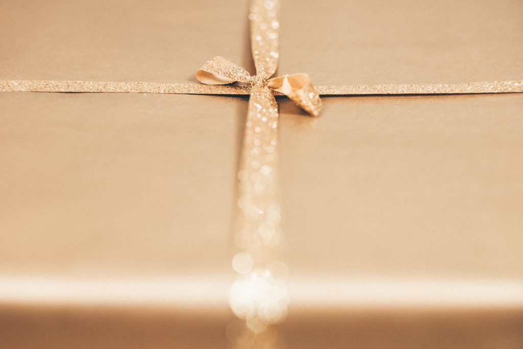 Gold Christmas gift - free stock photo
