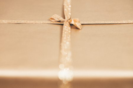 Gold Christmas gift - free stock photo