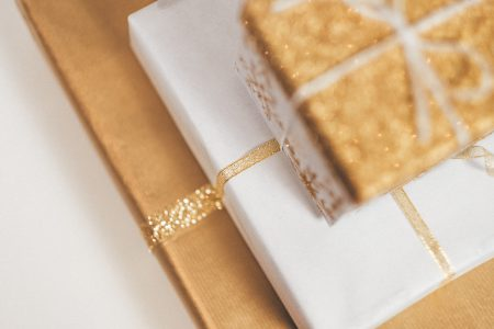 Gold Christmas gifts pile - free stock photo