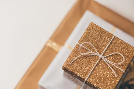 Gold Christmas gifts pile 2 - free stock photo