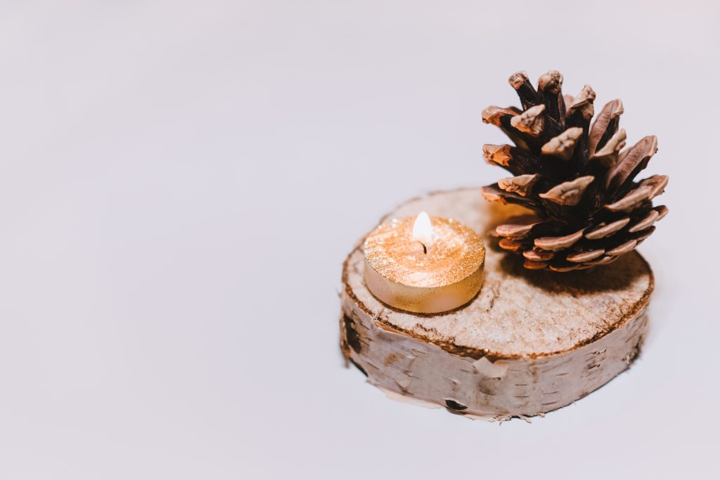 Gold tealight and a pinecone - free stock photo
