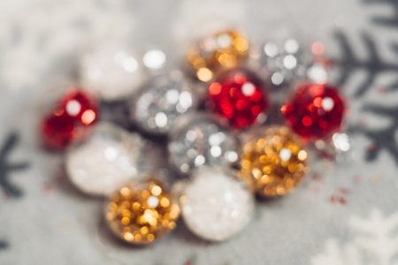 Mini baubles blurred - free stock photo