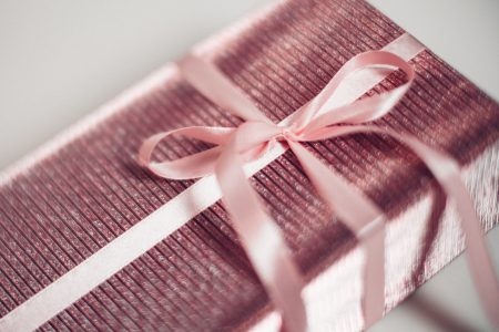 Pink Christmas gift blurred