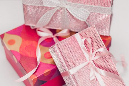 Pink Christmas gifts pile - free stock photo