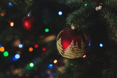 Red and gold bauble - free stock photo