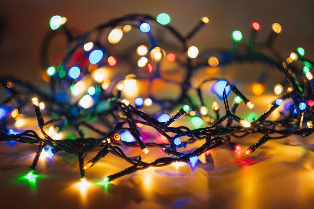 Tangled Christmas lights - free stock photo
