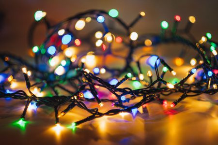 Tangled Christmas lights - free stock photo