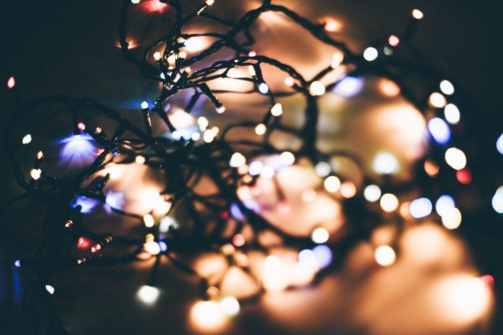Tangled Christmas lights bokeh - free stock photo