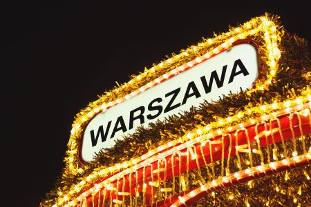 Warsaw sign in Christmas lights - free stock photo