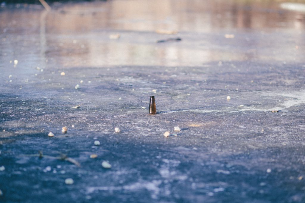 Beer bottle in a frozen pond - free stock photo