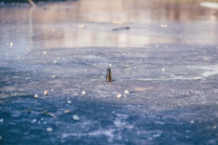 Beer bottle in a frozen pond